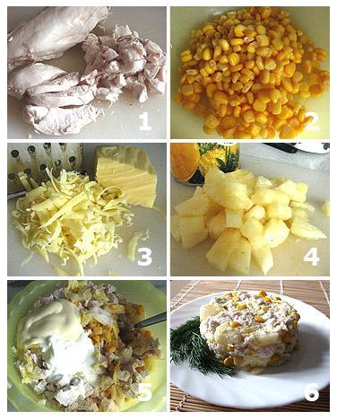 салат с кукурузой и сыром и ананасами