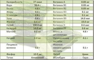 состав кабачков таблица