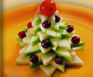 украшение новогоднего стола - фруктовая елочка