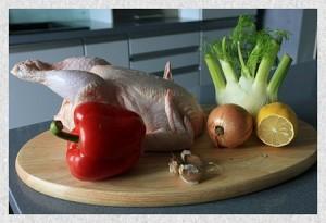 как разделывать птицу - курица с овощами