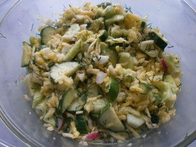 салат из свежего кабачка и огурцов
