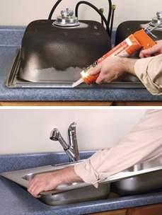 установка врезной кухонной мойки