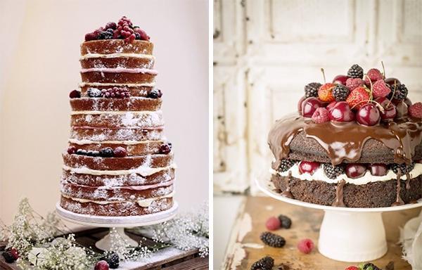 голые торты с ягодами