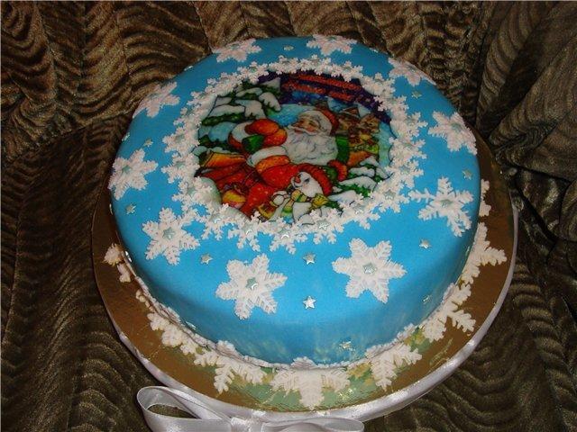 как украсить новогодние торты готовыми элементами