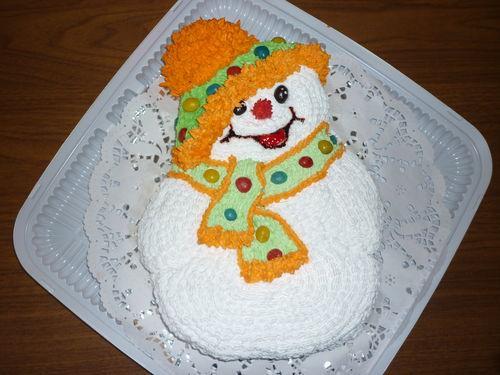 новогодний торт 2017 в форме снеговика