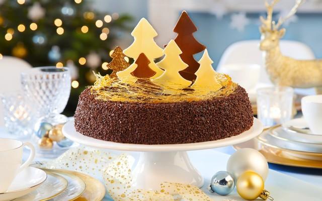 новогодние торты 2017 - с елками из шоколада