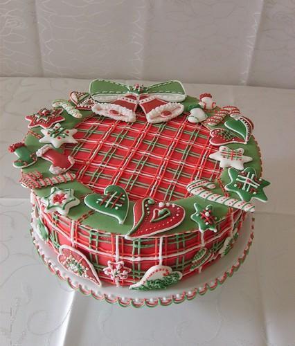 новогодний торт 2017 с мастикой и марципаном