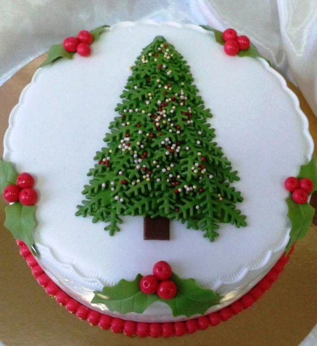 торт на новый год 2017 с елкой и мастикой