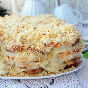 ленивый торт наполеон без выпечки из печенья