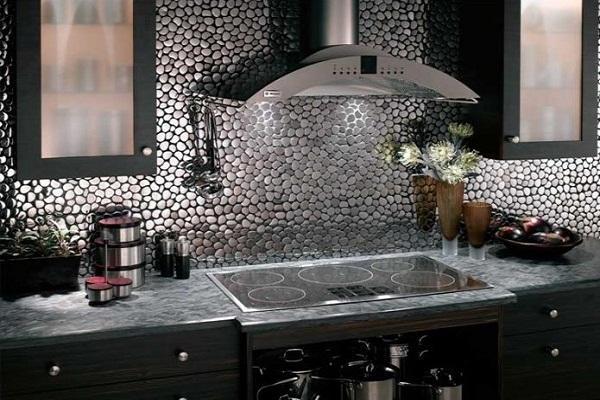 фигурная плитка мозаика для кухни металлизированная