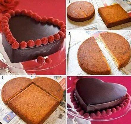 как сделать торт в форме сердца из двух коржей