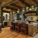 кухня рустик - оформление пола и потолка