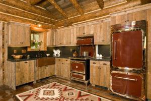 кухня в стиле рустик - фото винтажной бытовой техники