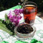 Иван-чай, заваренный в стакане, ферментированный в чашке и свежее соцветие на белой скатерти
